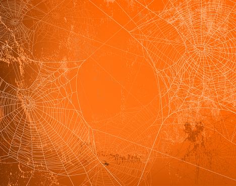 halloween orange wall vector background with spider web