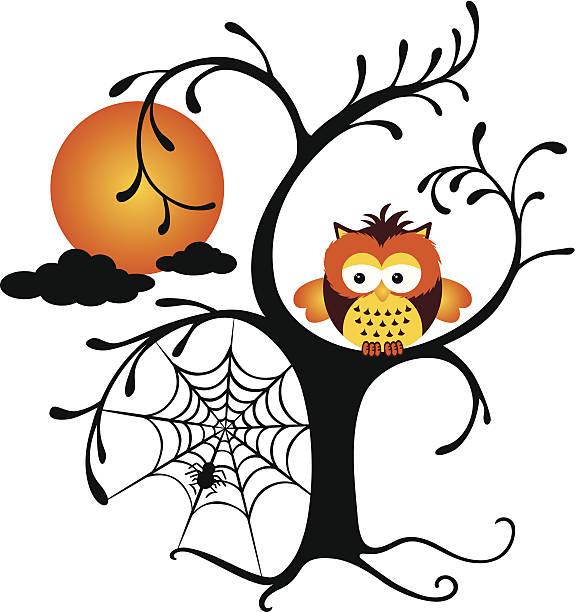 illustrations, cliparts, dessins animés et icônes de halloween chouette perché sur un arbre - cage animal nuit