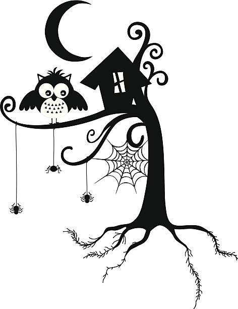illustrations, cliparts, dessins animés et icônes de chouette halloween - cage animal nuit