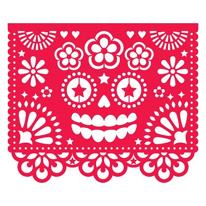 Halloween Papel Picado design with La Catrina skull, Mexican paper cut out pattern - Dia de Los Muertos, Day of the Dead celebration