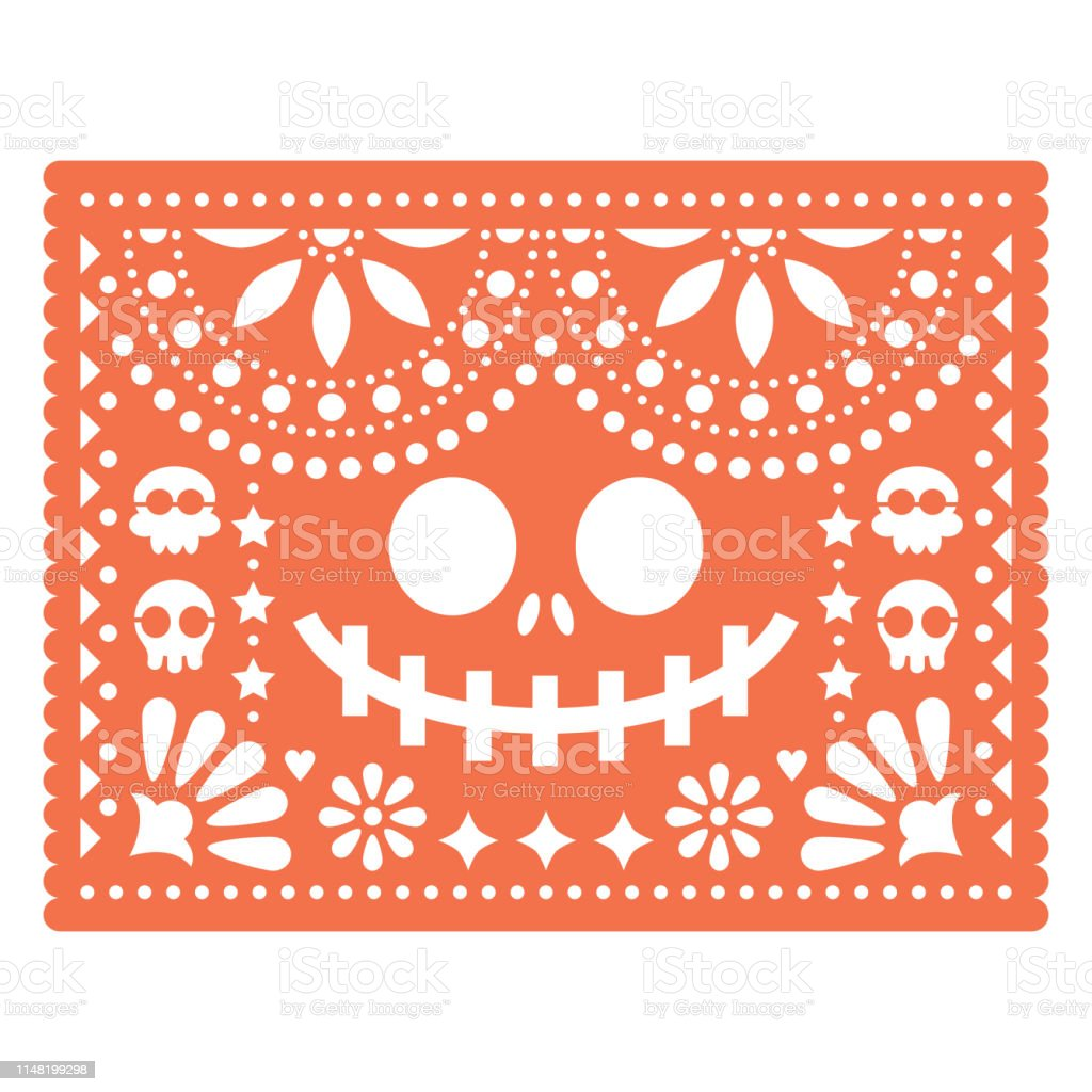 Halloween Papel Picado Design With Skulls And Pumpkin Scary