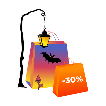 Halloween paper bags 30 percent discount. Purple and orange packets with bat and lantern, isolate, vector illustration