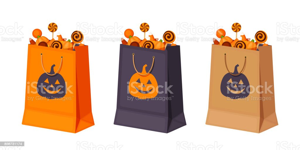 Halloween paper bags with candies. Vector illustration. vector art illustration