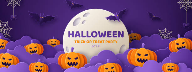 halloween paper cut banner - halloween candy stock illustrations