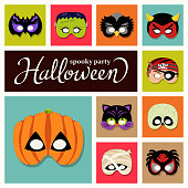 Halloween party masks graphic elements included demon, mummified, frankenstein, cat, owl, bat, pumpkin, devil, pirate, skull and spider.