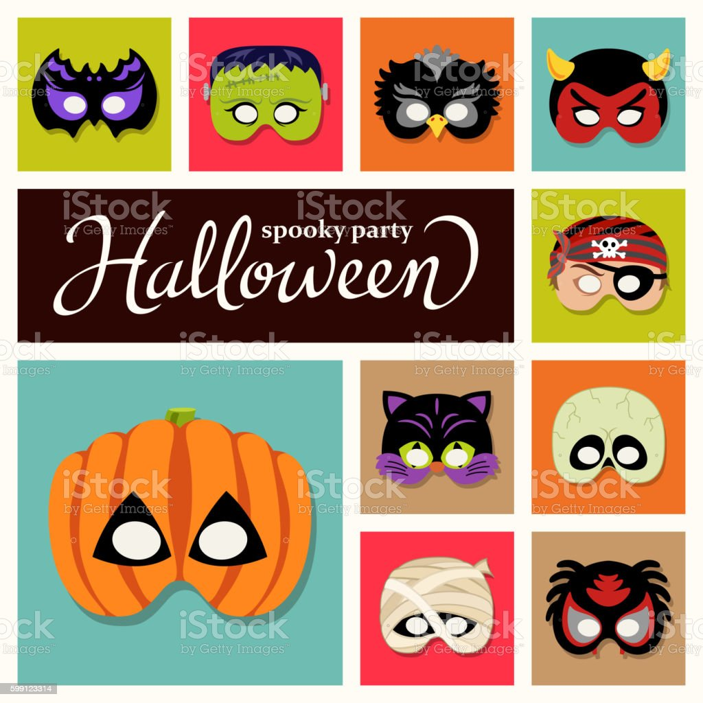 Halloween Paper Masks vector art illustration