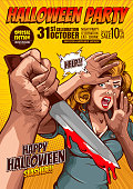 halloween party, cover template background, horror comic, picture hand holding a knife and woman in very shocked fear,  and speech bubbles, doodle art, Vector illustration.