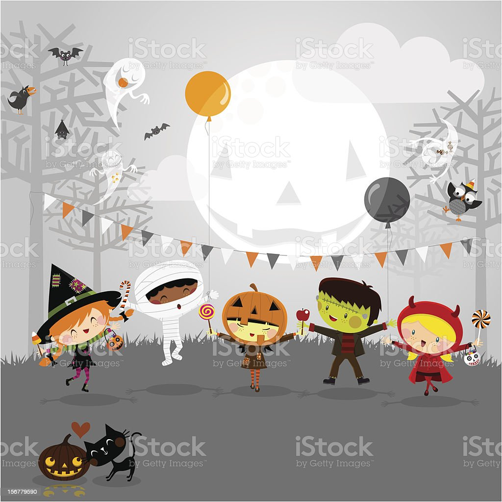 Halloween party and kids costumes vector art illustration