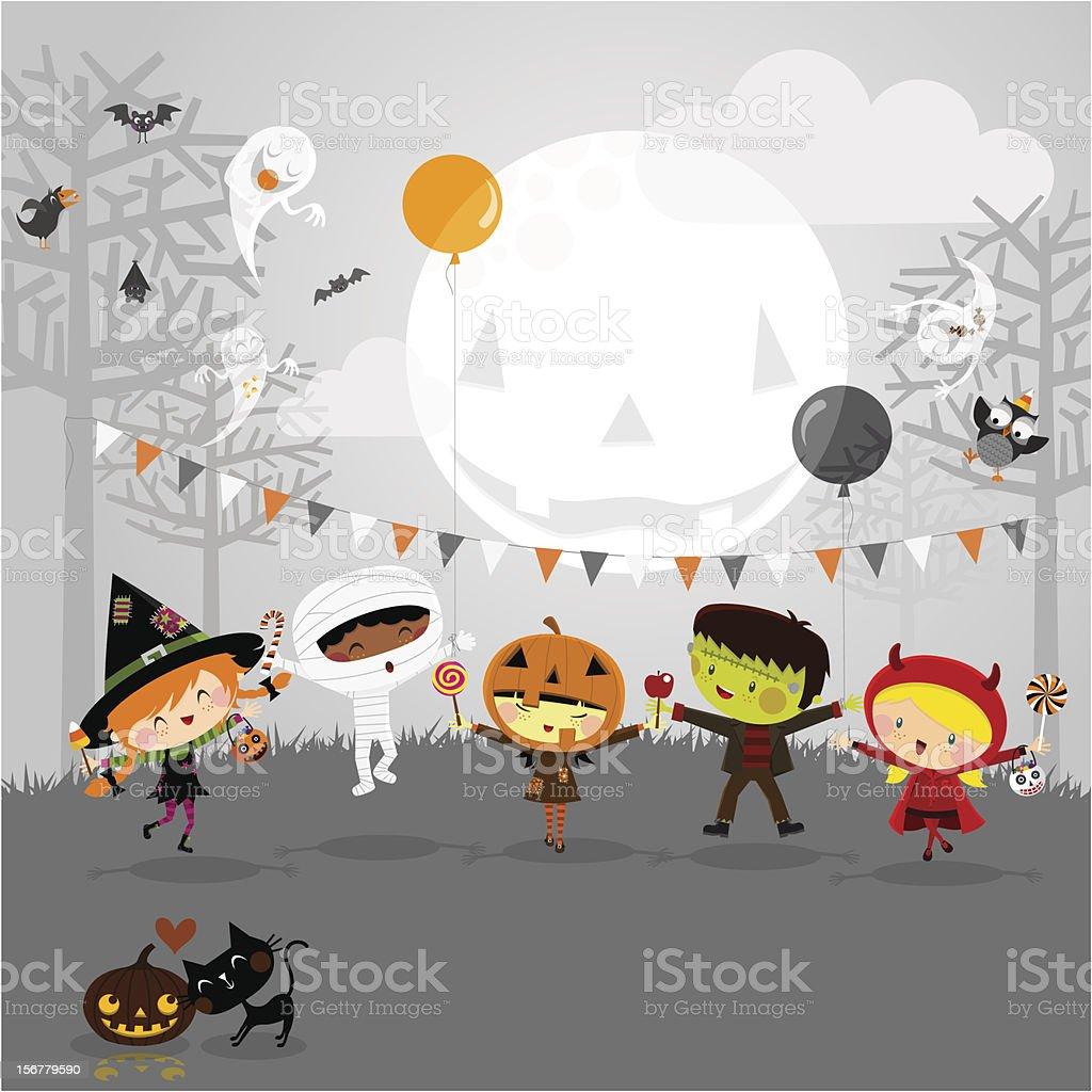 Halloween party y niños el vestuario - ilustración de arte vectorial