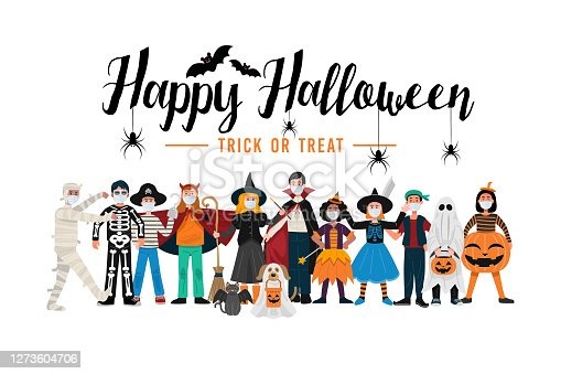 istock Halloween party background, Kids in Halloween costumes wearing face masks. Vector 1273604706