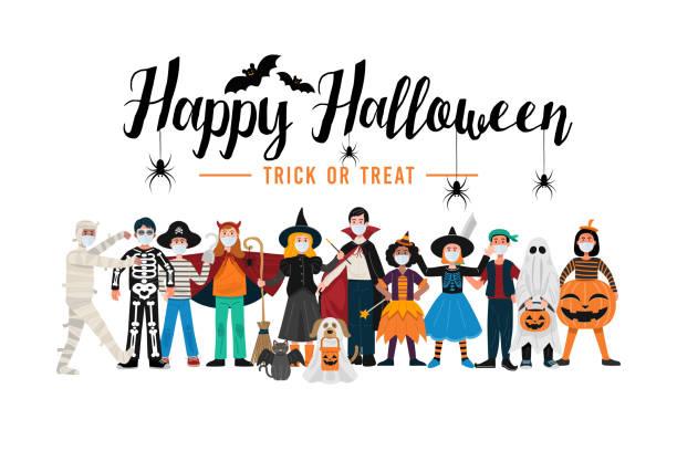 illustrazioni stock, clip art, cartoni animati e icone di tendenza di sfondo festa di halloween, bambini in costumi di halloween indossando maschere per il viso. vettore - halloween