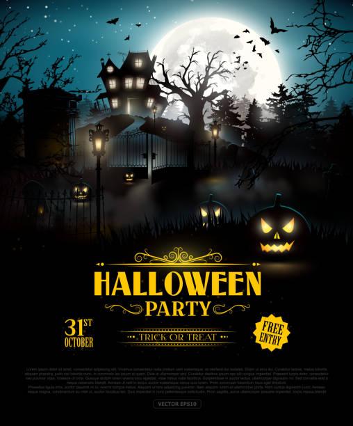 illustrazioni stock, clip art, cartoni animati e icone di tendenza di halloween party background - halloween