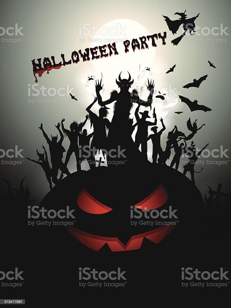 halloween party background vector art illustration