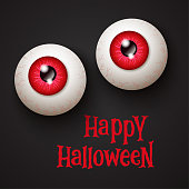 Halloween party background with scary eye