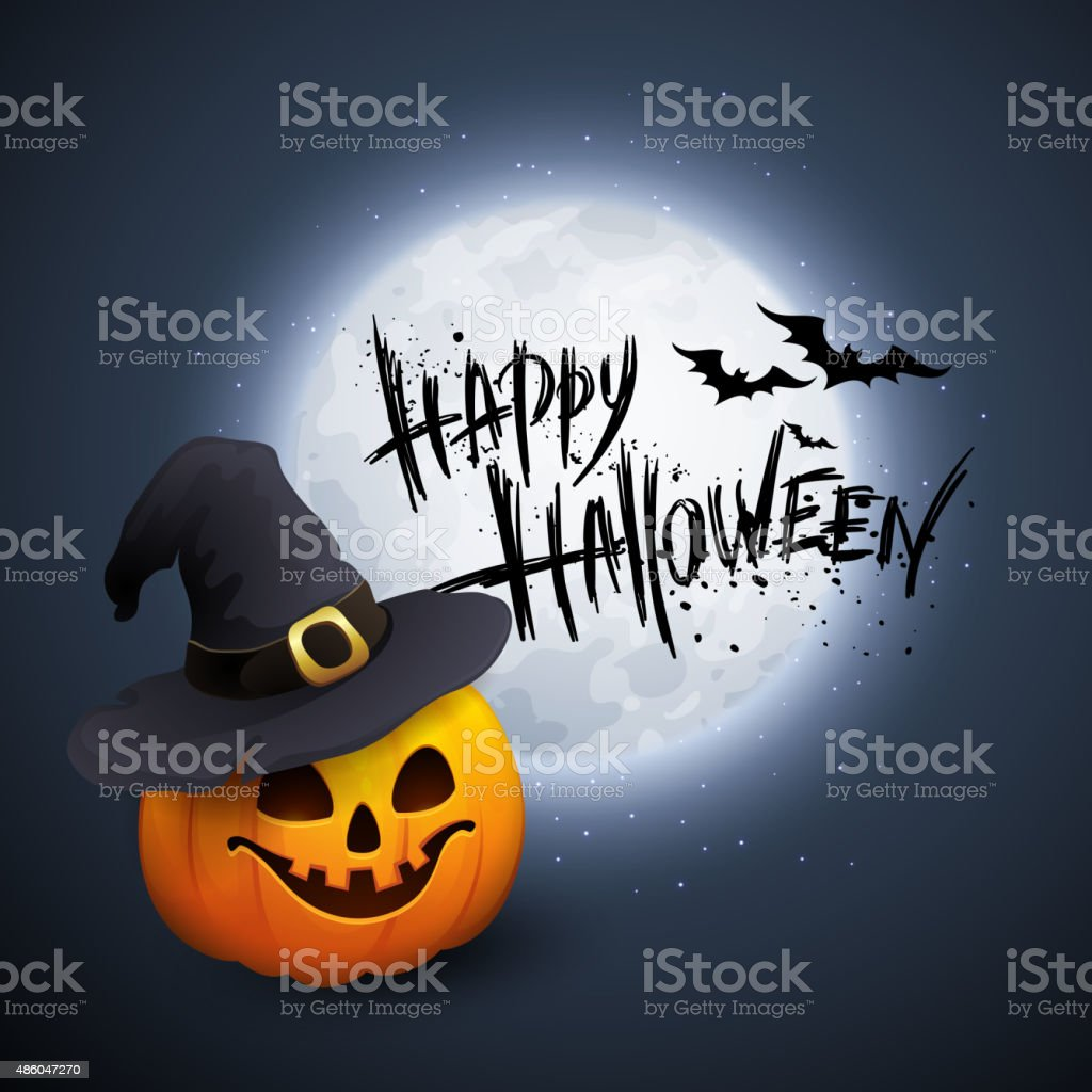 Halloween Party Background with Pumpkin and Moon in the Back vector art illustration