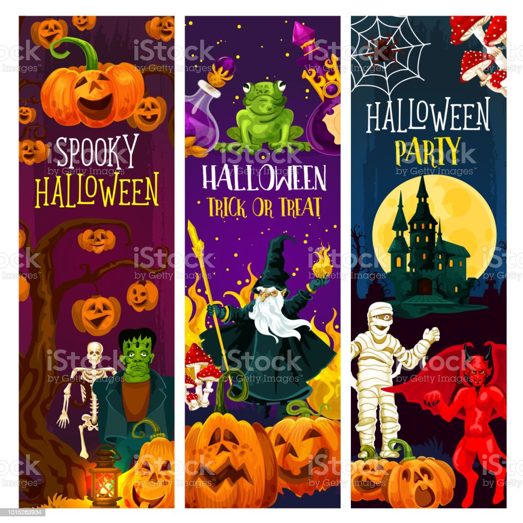 halloween party banner with trick or treat pumpkin royalty free halloween party banner with trick