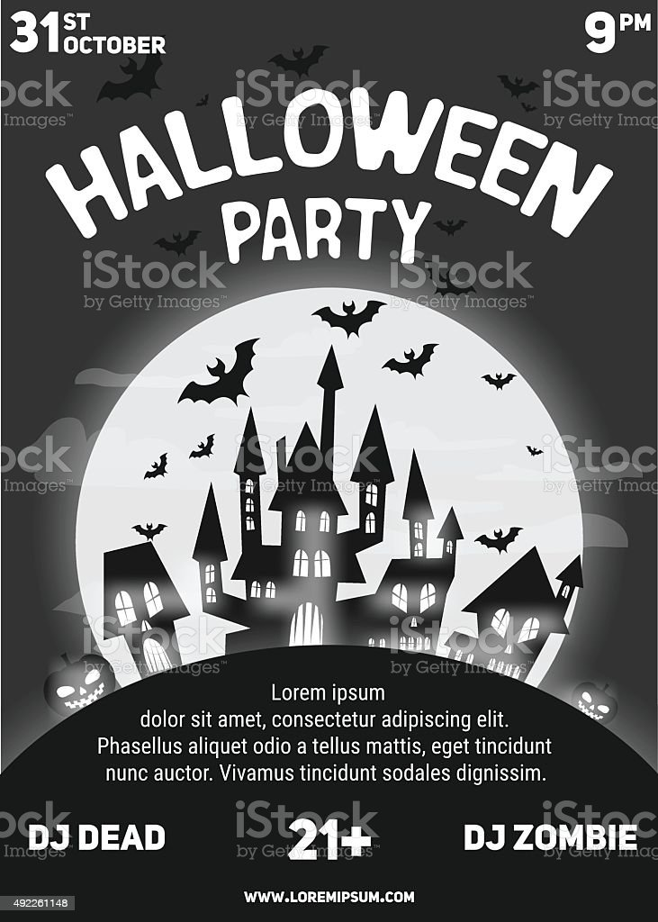 Halloween Party Black And White Flyer Template Stock Vector Art