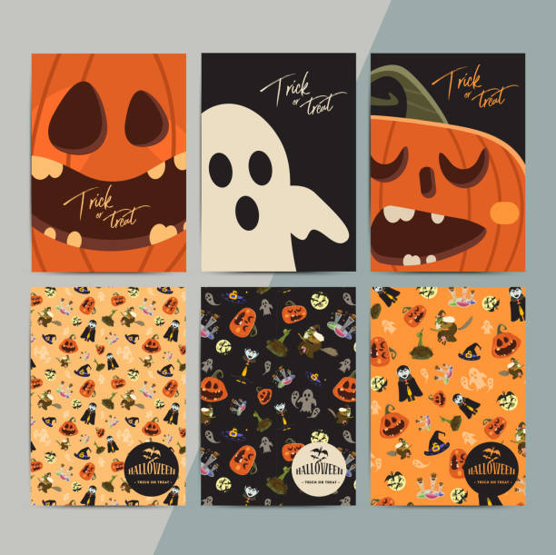 halloween party cartoon greeting cards. all hallow eve invitatio - halloween candy stock illustrations