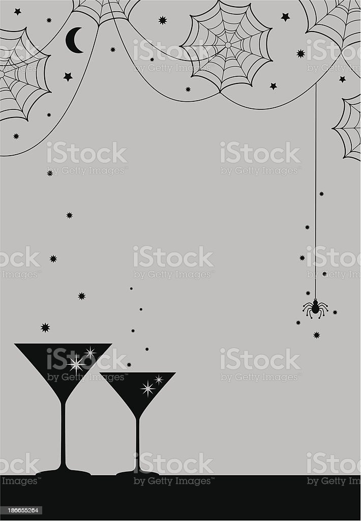Halloween Party Cocktail Glass & Cobwebs royalty-free stock vector art