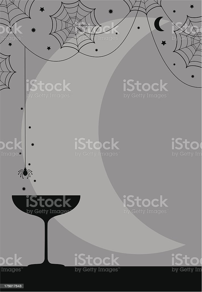 Halloween Party Cocktail Glass & Spiders Web Design royalty-free halloween party cocktail glass spiders web design stock vector art & more images of abstract