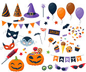 Halloween party colorful icons set vector illustration