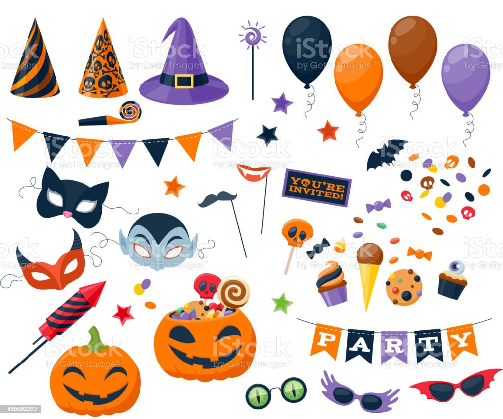Halloween party colorful icons set vector illustration vector art illustration