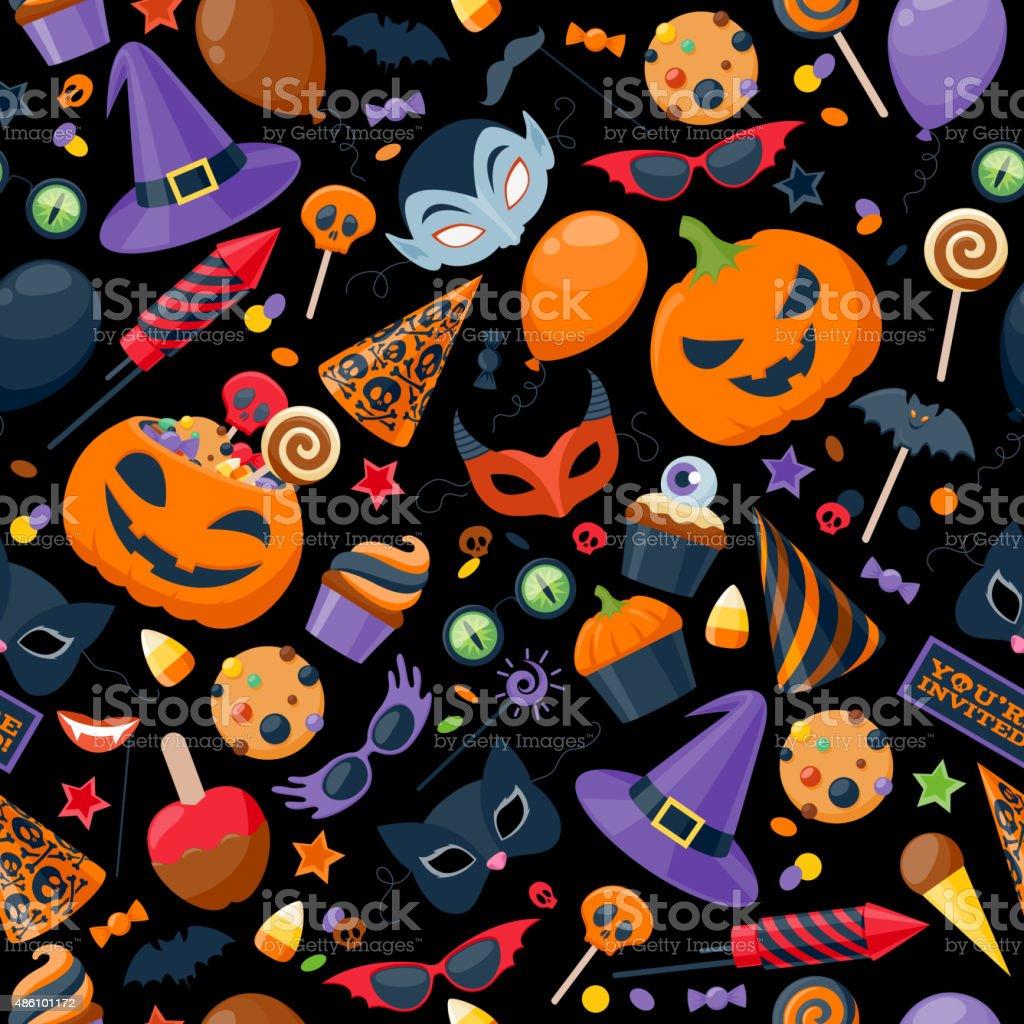 Halloween party colorful seamless pattern vector illustration vector art illustration
