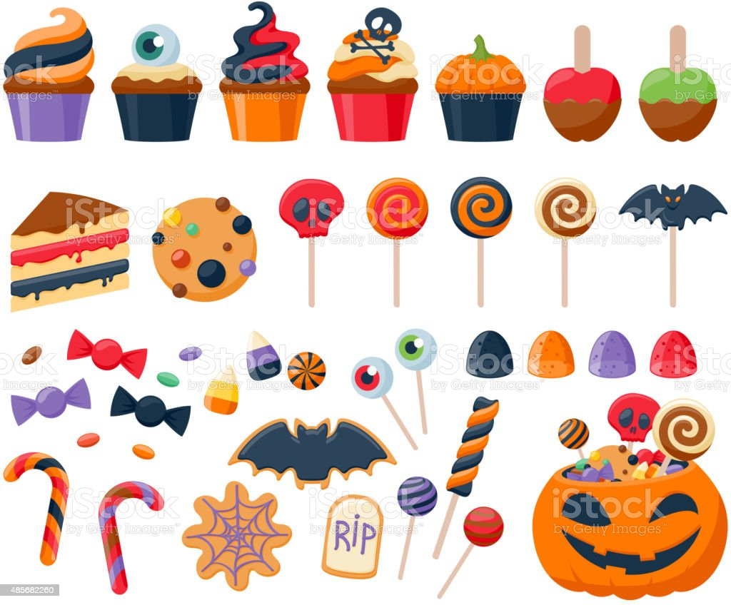 Halloween party colorful sweets  icons set vector illustration vector art illustration