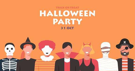 Halloween party concept banner, people in different costume join together to celebrate holiday