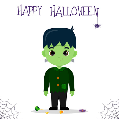 Halloween party. Cute boy dressed in a Frankenstein monster costume, candy and sweets, a spider and a cobweb. Postcard, vector illustration.