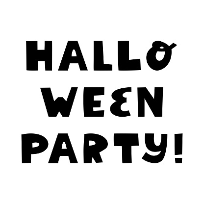Halloween party. Cute hand drawn lettering in modern scandinavian style. Isolated on a white background. Vector stock illustration.