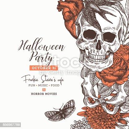Halloween party design template. Vintage floral anatomy background. Vector illustration