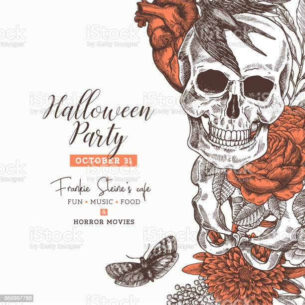 Halloween party design template vintage floral anatomy background vector id856967788?b=1&k=6&m=856967788&s=612x612&h=3qewv bwi75uvyoubzdhrbmehkai  kud0p4bt ol m=