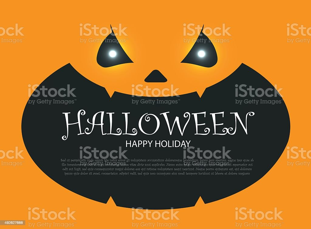 Halloween Party Design Template With Pumpkin Bats And Place For