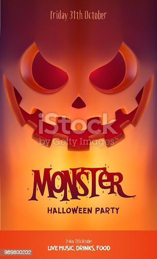 Halloween Party Design template, with scary pumpkin lantern and place for text. Vector Illustration