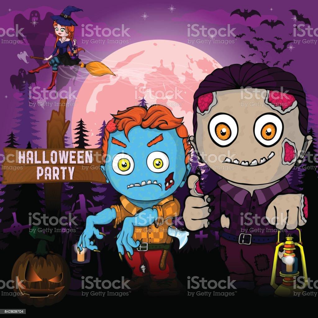 Halloween Party Designvorlage Mit Zombie Hexe Kurbis Und Lampe Stock