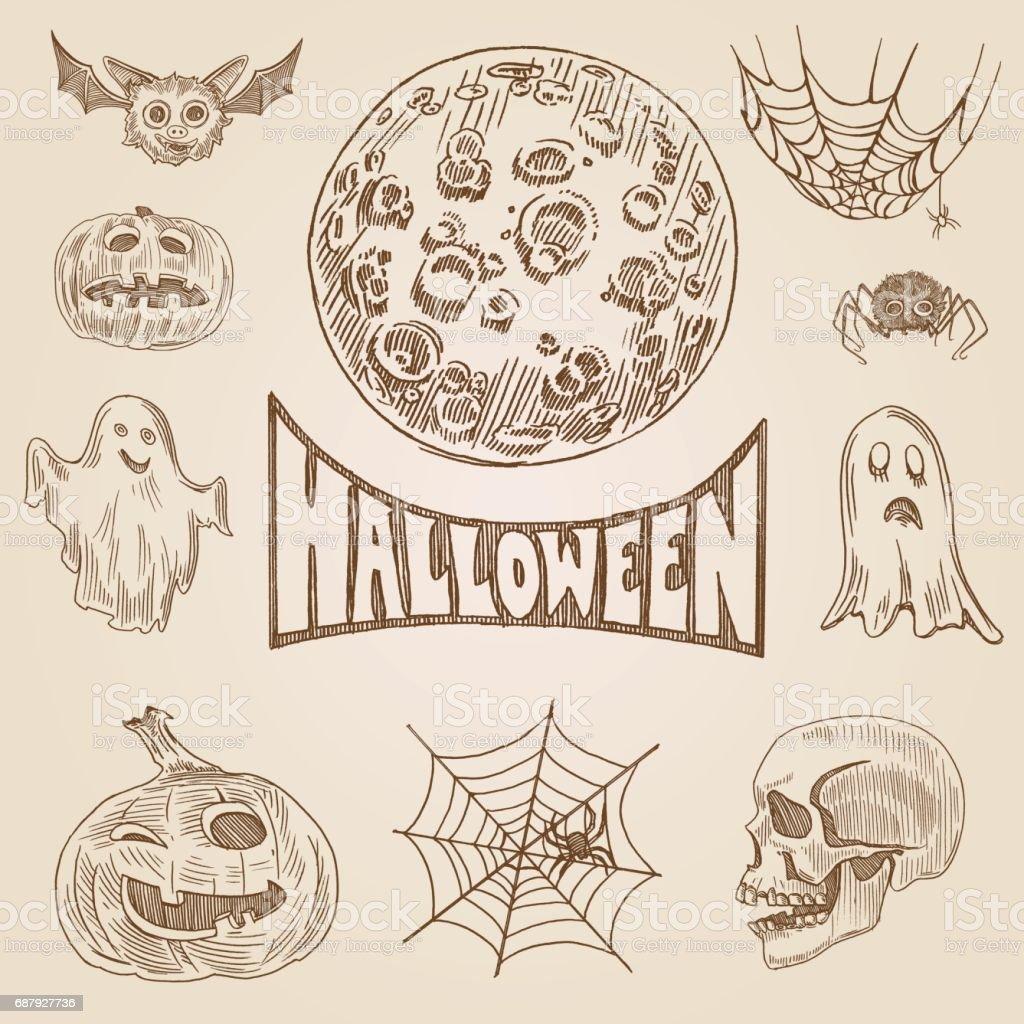 Halloween Partido Grabado Estilo Mano Doodle Dibuja Plantilla Banner ...