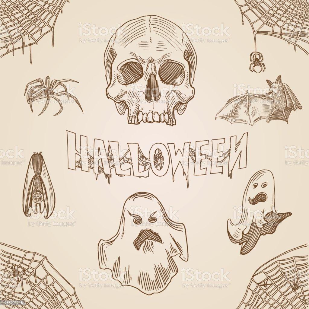 Halloween Party Gravur Stil Hand Gezeichnete Doodle Vorlage Banner ...