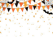 Halloween party flags background. Vector illustration.