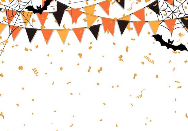 illustrazioni stock, clip art, cartoni animati e icone di tendenza di sfondo bandiere festa halloween. illustrazione vettoriale. - halloween