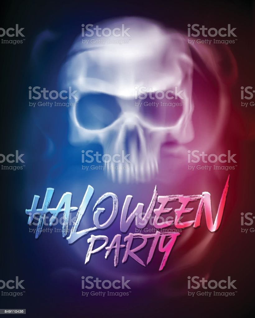 Halloween Party Flyer Or Brochure Template With Transparent Skull Or
