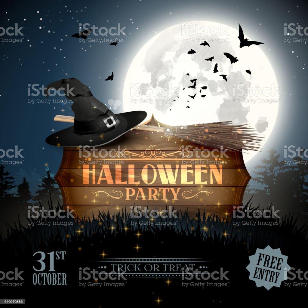 Halloween party flyer vector art illustration