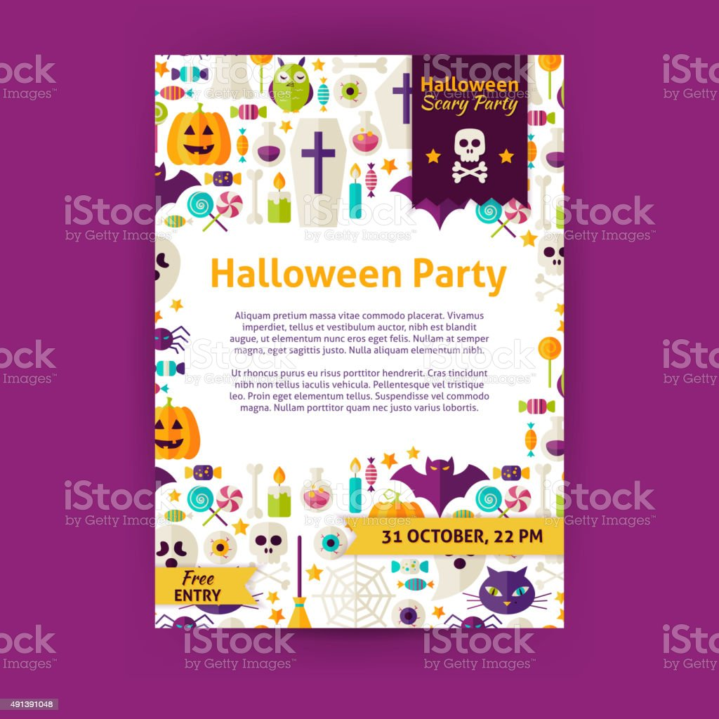 halloween party holiday vector invitation template flyer stock