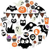 A set of halloween related icons. See below for a repeat pattern of this image.