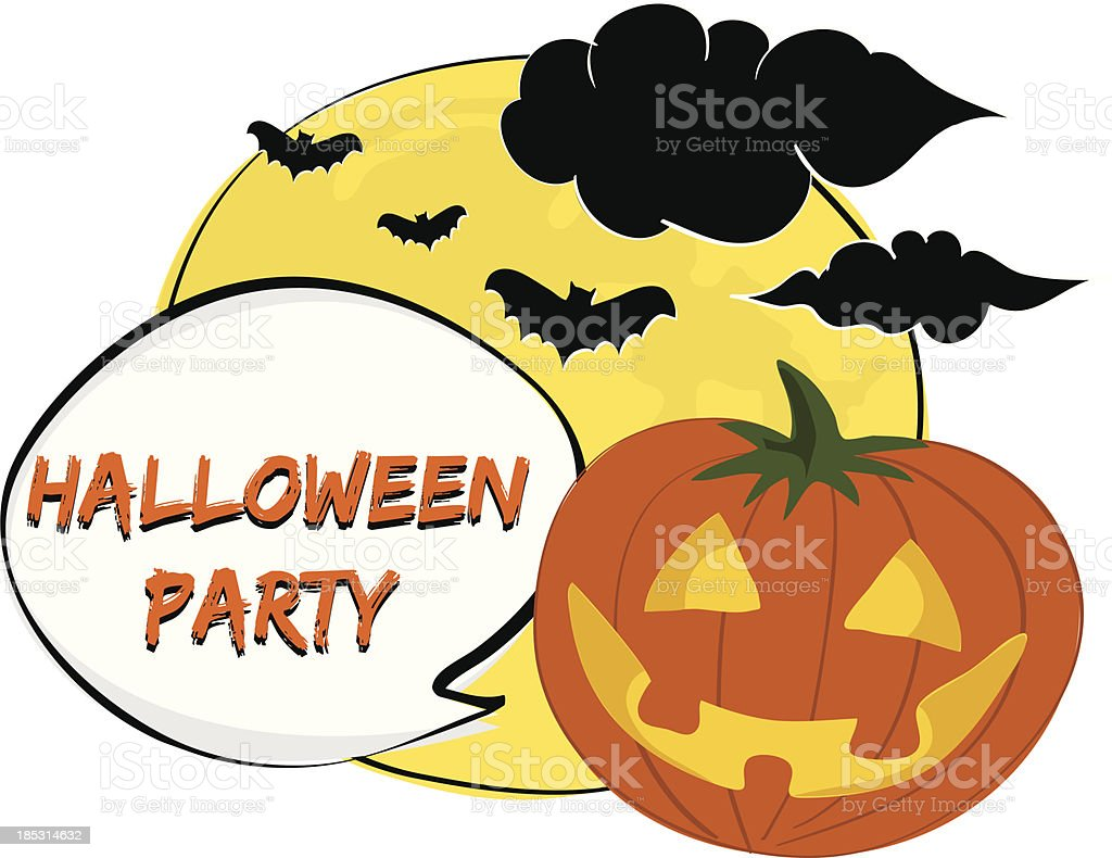 Halloween Party illustration with friendly Jack-o-lantern royalty-free stock vector art