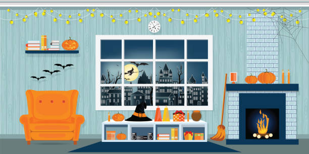Halloween party in living room. Halloween party in living room with armchair, table, clock and fireplace, modern classic style vector illustration. spooky halloween town stock illustrations