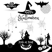 Halloween Party invitation black and white print holiday symbols