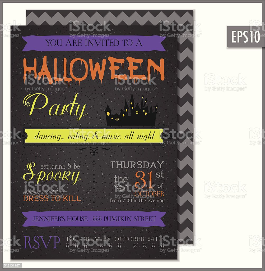 Halloween party invitation black stock vector art more images of halloween party invitation black royalty free halloween party invitation black stock vector art amp stopboris Gallery