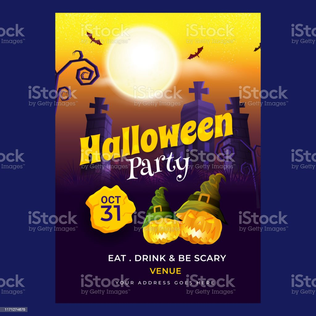 Halloween Party Invitation Card Design With Scary Pumpkin