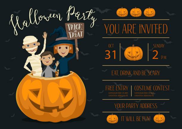 bildbanksillustrationer, clip art samt tecknat material och ikoner med halloween party invitation design with kids - children autumn